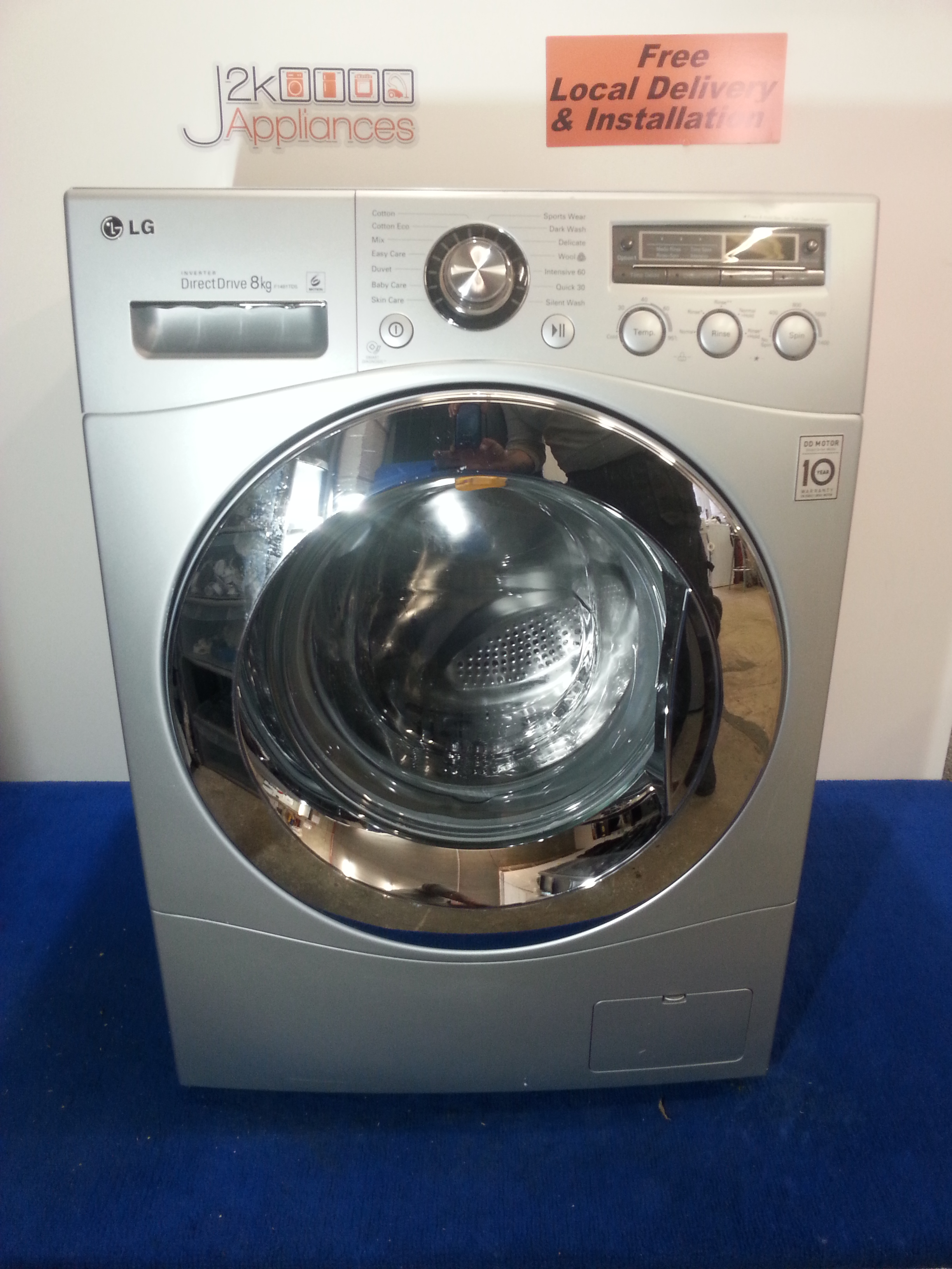 Wm138 lg direct drive 6 motion 8kg 1400 spin washing for Direct drive motor washing machine