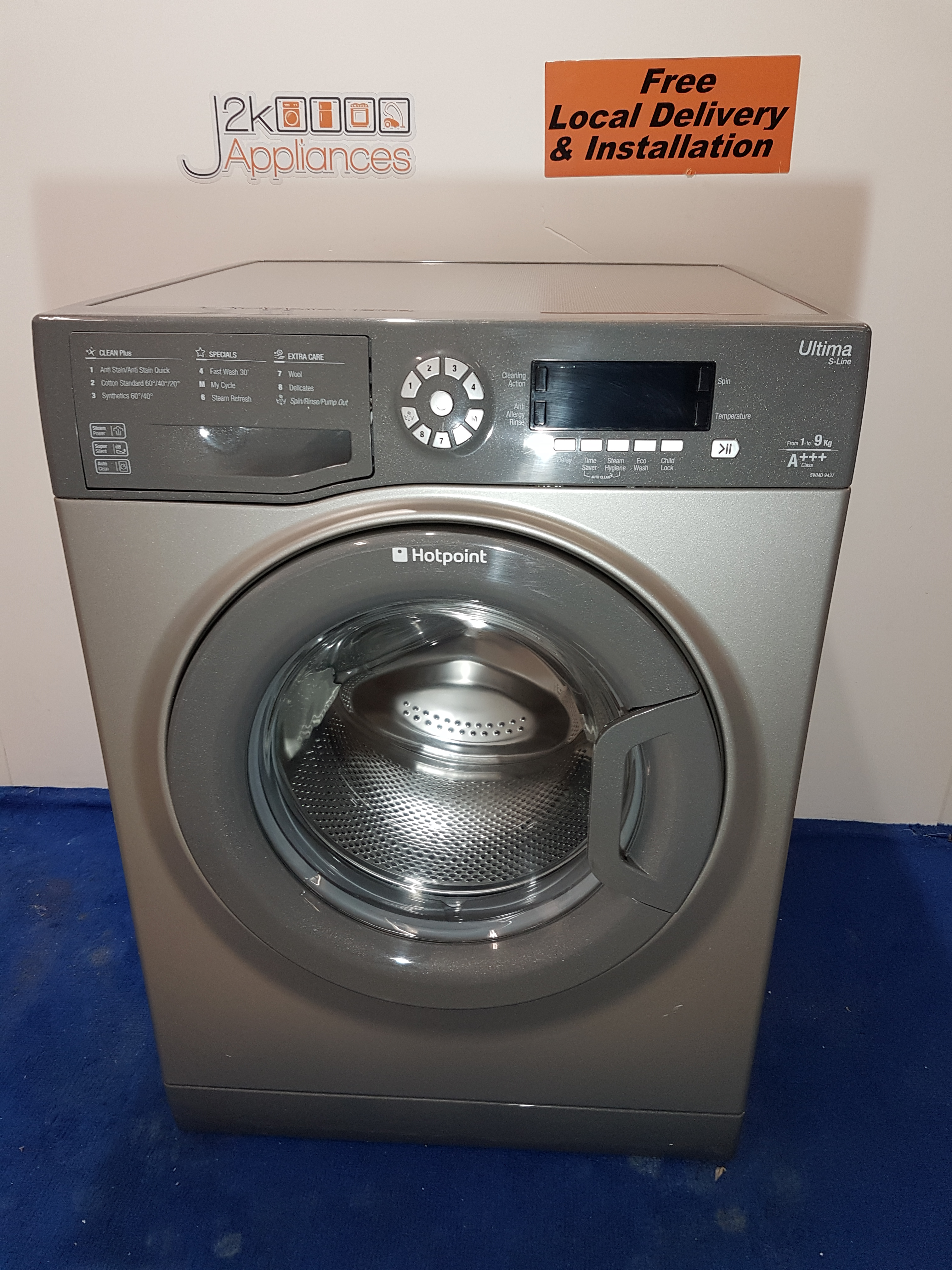 wm182 silver hotpoint ultima s line 9kg 1400 spin washing. Black Bedroom Furniture Sets. Home Design Ideas
