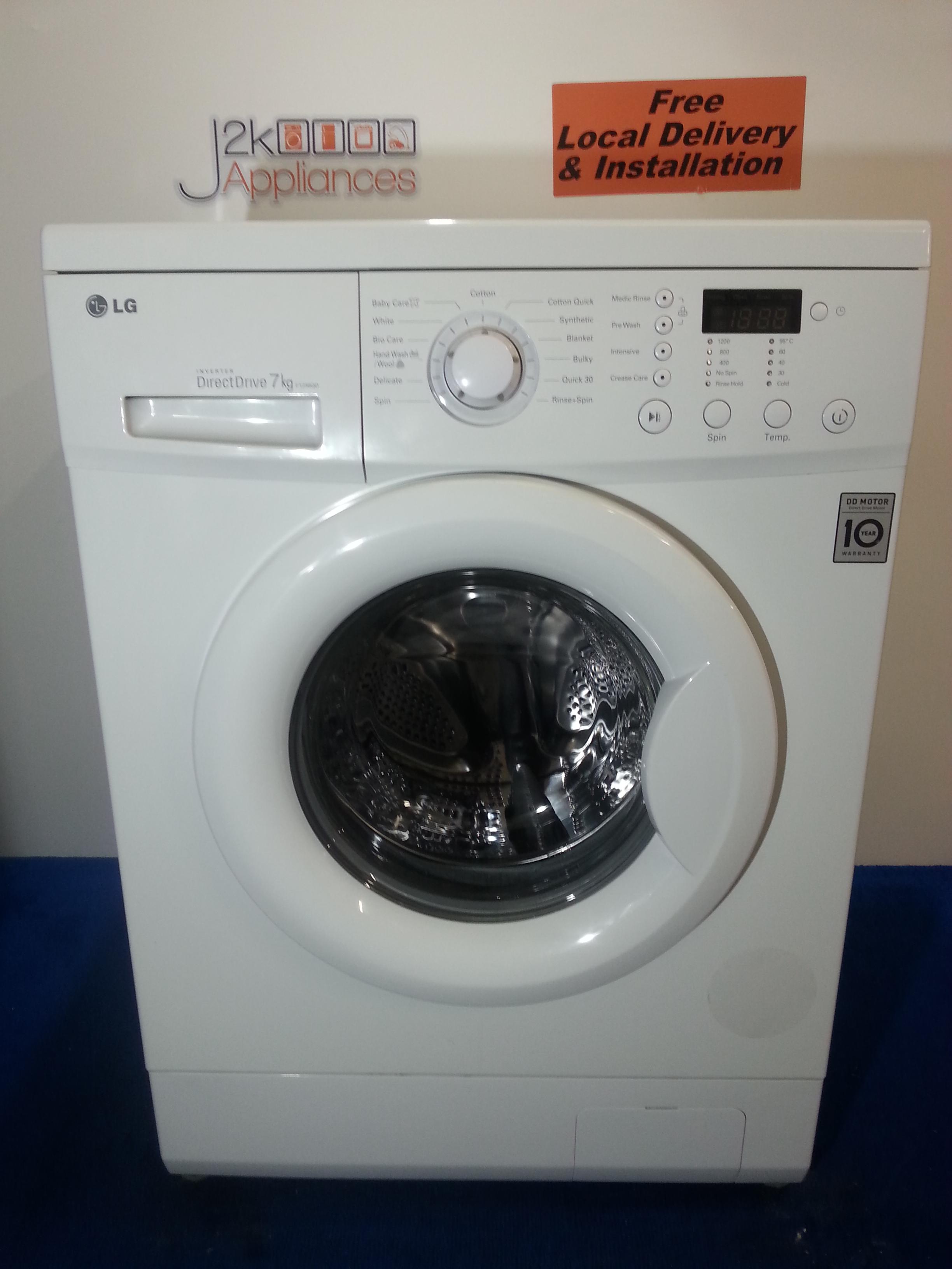 wm056 lg direct drive 7kg 1200 spin washing machine j2k appliances. Black Bedroom Furniture Sets. Home Design Ideas