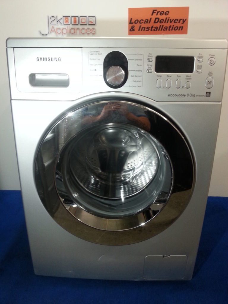 wm064 silver samsung eco bubble 8kg 1400 spin washing. Black Bedroom Furniture Sets. Home Design Ideas